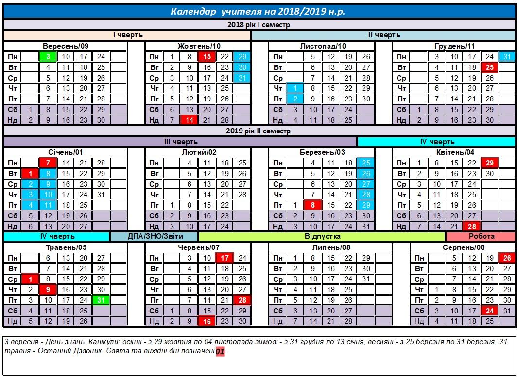 Календар учителя                 2018-2019 н.р.